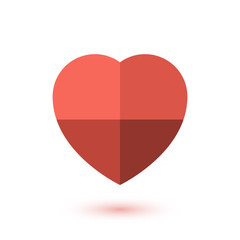 Simple red paper heart icon