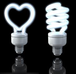 Weiße Neonlampen, herzförmig, spiralförmig, 3d rendering