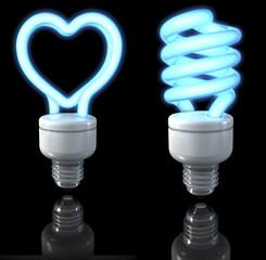 Blaue Neonlampen, herzförmig, spiralförmig, 3d rendering