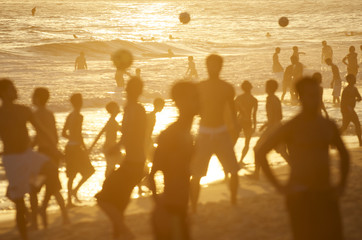 Posto 9 Rio Golden Sunset Silhouettes Beach Football