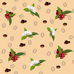 seamless pattern of the elements of coffee
