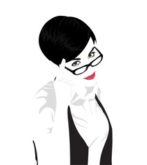 Short hair beauty woman wearing glasses vector.