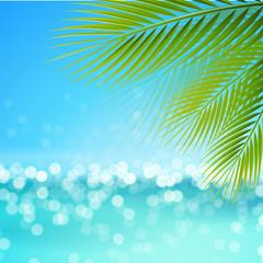 Bokeh - Strand mit Palmblätter