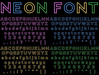 Neon Font (Ready Made, 4 Colours, all letters, symbols included)