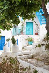 Fototapete - Griechenland: türkis und blau - traditionelle Architektur