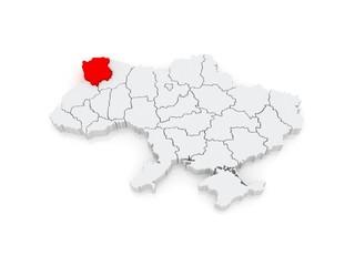 Map of Volyn region. Ukraine.