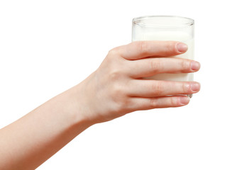 hand holding glass of milk isolated