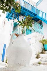 Fototapete - Griechenland Architektur auf den Kykladen in blau weiß.