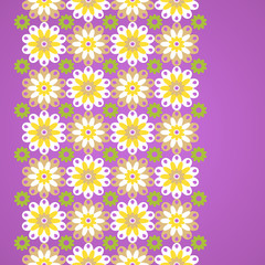 Gentle floral seamless border on violet background.