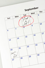 Notes on the calendar, close-up