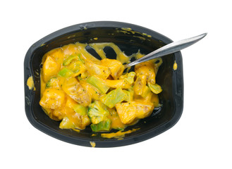 Potatoes in cheese sauce with broccoli TV dinner