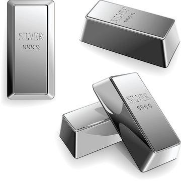 vector set of silver bars