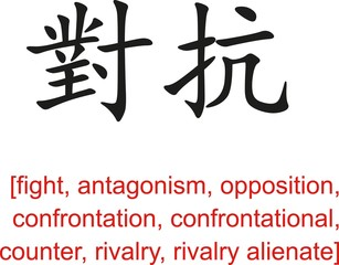 Chinese Sign for fight, antagonism, opposition, confrontation