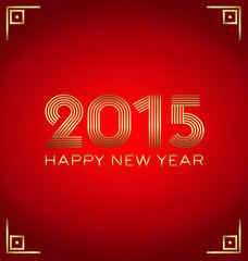2015 Golden and Red Happy New Year greeting card