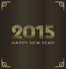 2015 Golden luxury Happy New Year greeting card