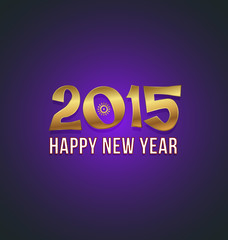 2015 Golden and Purple Happy New Year greeting card