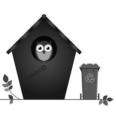 Monochrome birdhouse with recycling bin