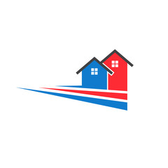 Two houses stripes image. Concept of real estate. Vector icon