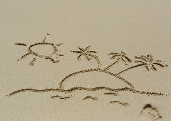 Drawing of the sun and palms on sand