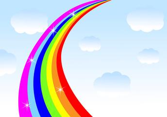 rainbow on a background blue sky