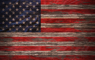 Grunge USA Flag on wood