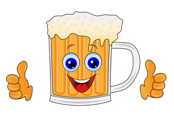 merry mug of beer on a white background