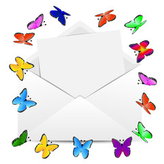 envelope with the sheet of paper and butterflies