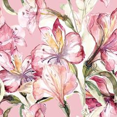 Lily seamless pattern