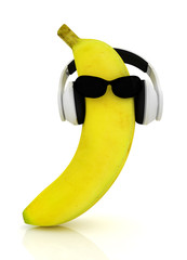 "banana with sun glass and headphones front ""face"""