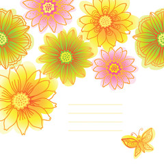 Bright pattern with colorful flowers.