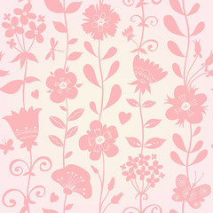 Seamless pattern with silhouettes flowers.