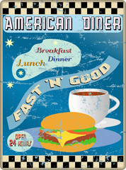 retro american diner sign, worn and weathered, vector eps