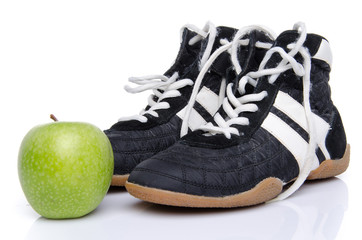 Fitness shoes with an apple