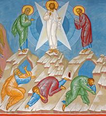 Bruges - Fresco of Transfiguration scene in orthodox church
