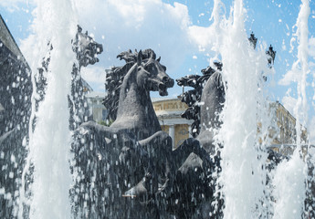"""MOSCOW - July 07, 2014: Fountain """"Four Seasons"""" on Manezh Square"""