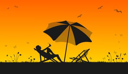 Sonnenschirm Liegestuhl