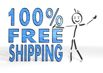 stick man presents 100 percent freeshipping sign
