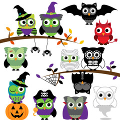 Vector Collection of Spooky Halloween Owls