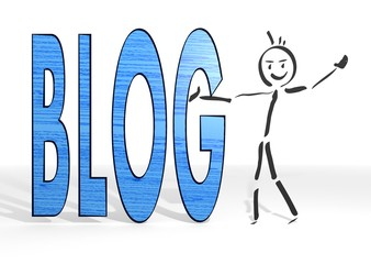 stick man presents blog symbol