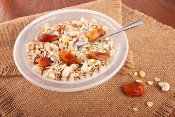 Composition with muesli breakfast