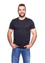 Young handsome man in a black t-shirt