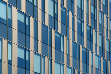 Glass building with golden stripes