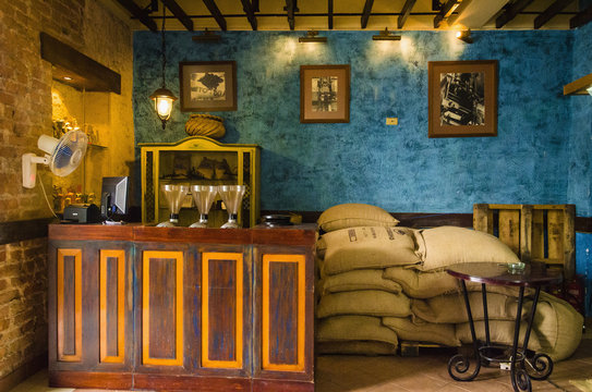 Interior of a typical cafe in Havana with coffee bags