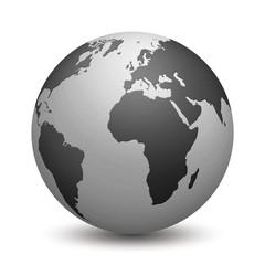 Erde schwarz weiss isoliert auf weißem Hintergrund