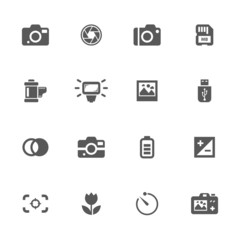 Photo camera icons set.