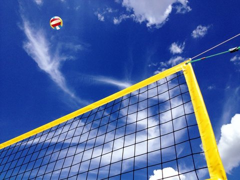 beach volleyball in the summer