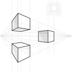 vector sketch of a cube in perspective