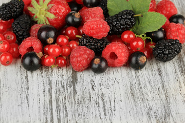 Ripe berries on table close-up