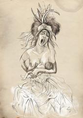 Madonna and Child. Hand drawn illustration.