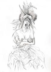 Madonna and Child. Full sized hand drawn illustration.